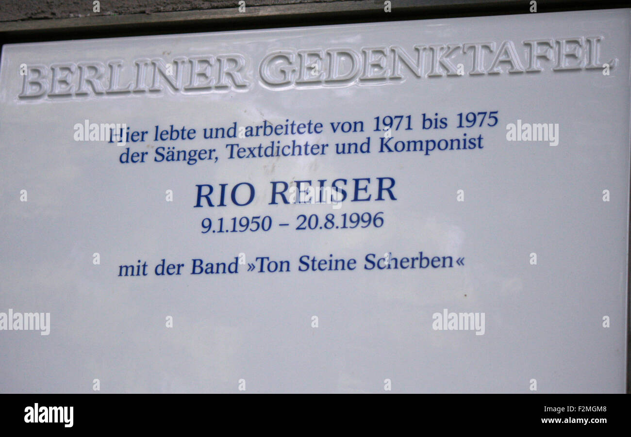 Gedenktafel fur Rio Reiser, Berlin. - Stock Image