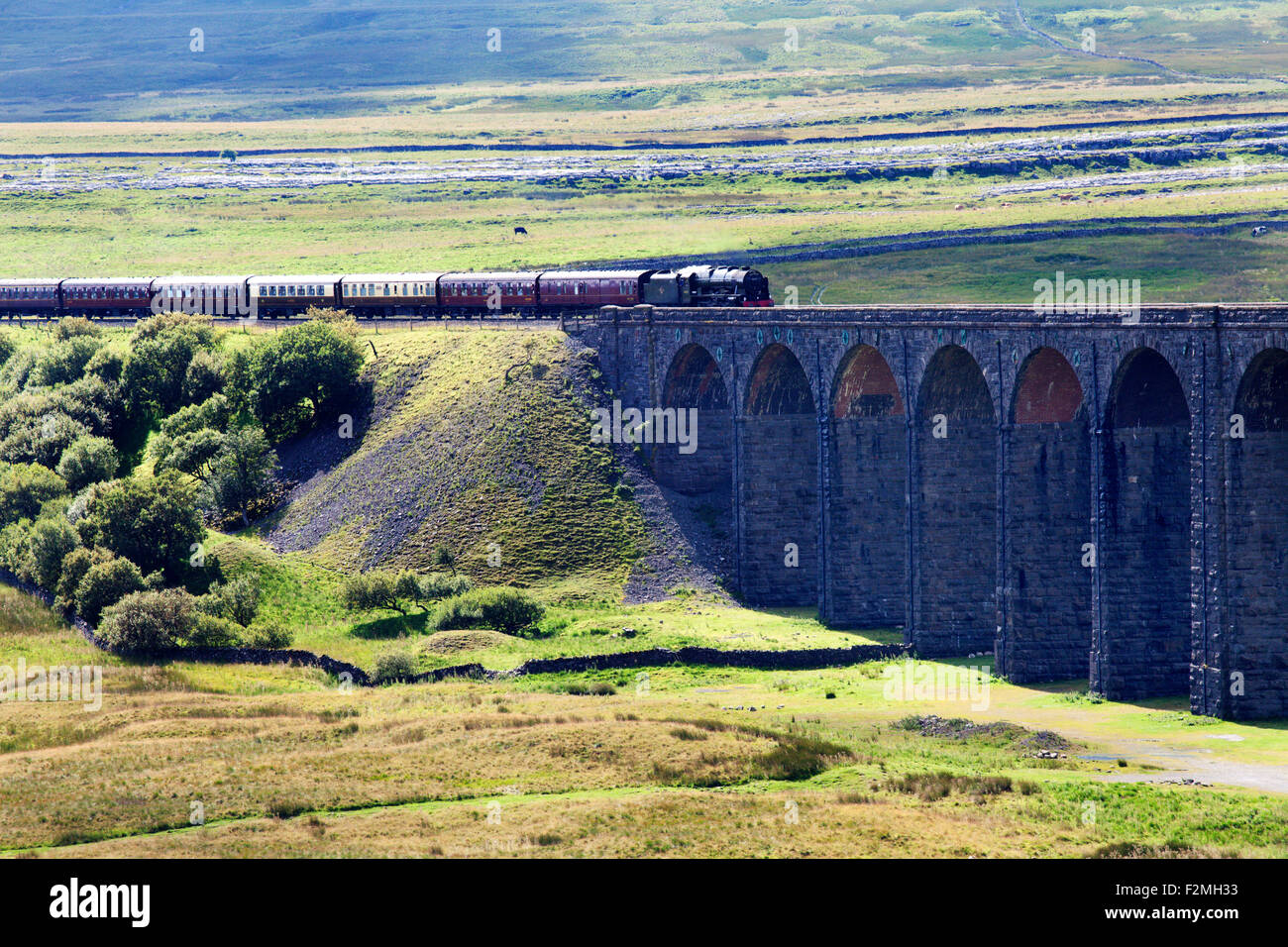 The Fellsman Hauled by 46115 Scots Guardsman Ribblehead Yorkshire Dales North Yorkshire England - Stock Image
