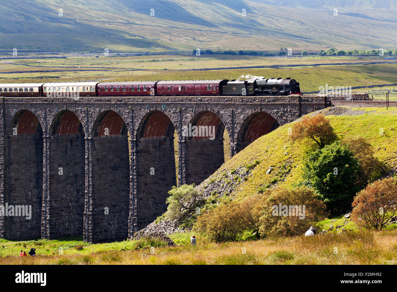 The Fellsman Hauled by 46115 Scots Guardsman Crossing Ribblehead Viaduct Yorkshire Dales North Yorkshire England - Stock Image