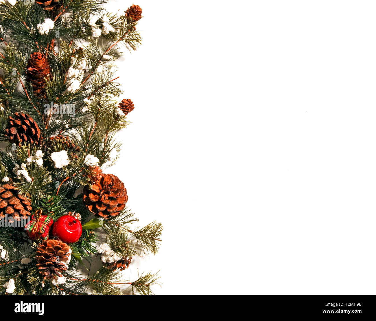 Christmas Border With Pinecones On White Background - Stock Image