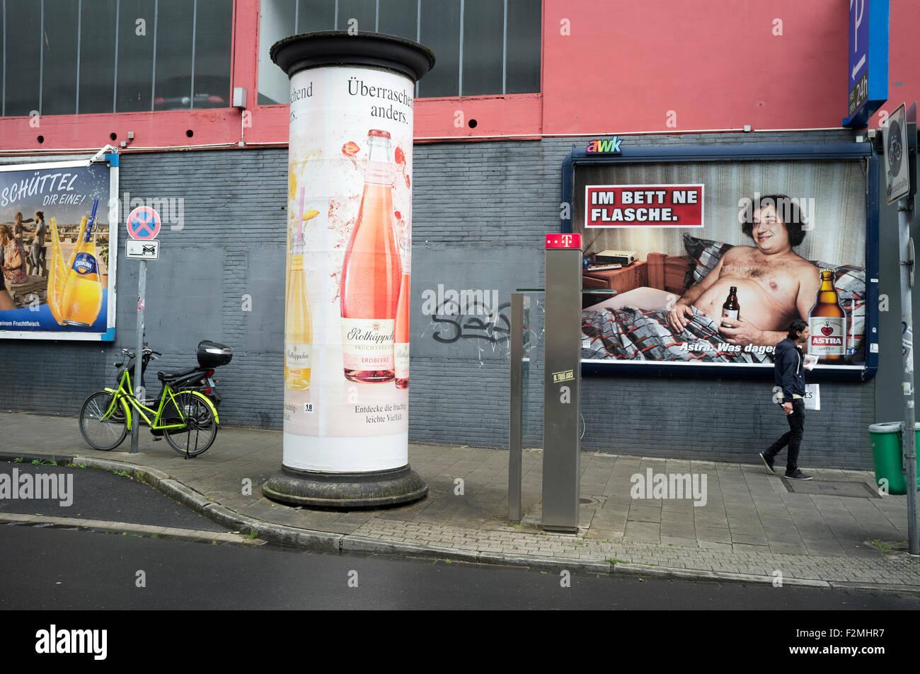 Billboards Dusseldorf Germany - Stock Image