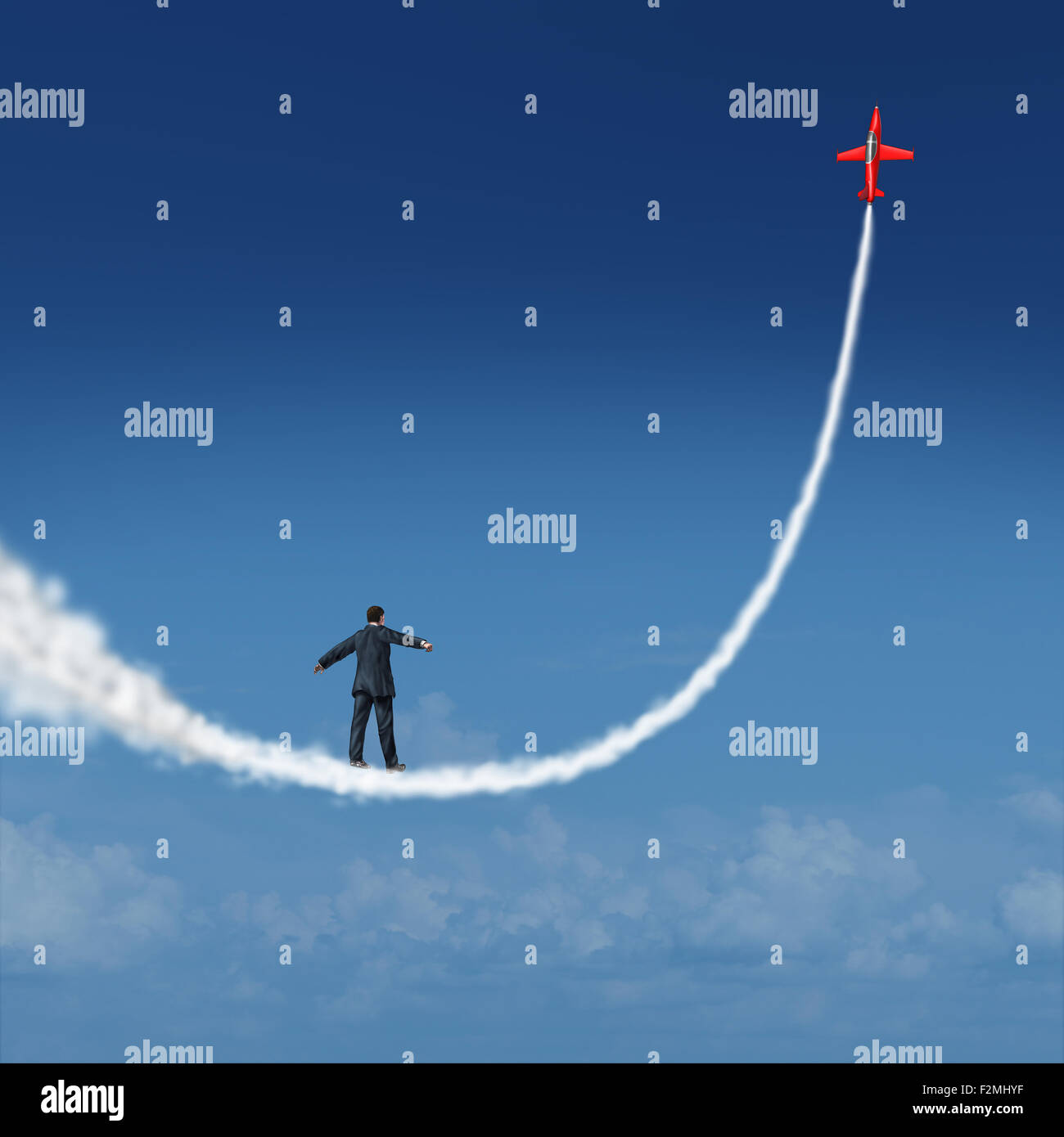 Follow your dreams concept and motivational symbol as a businessman walking upward on a smoke trail created by a - Stock Image