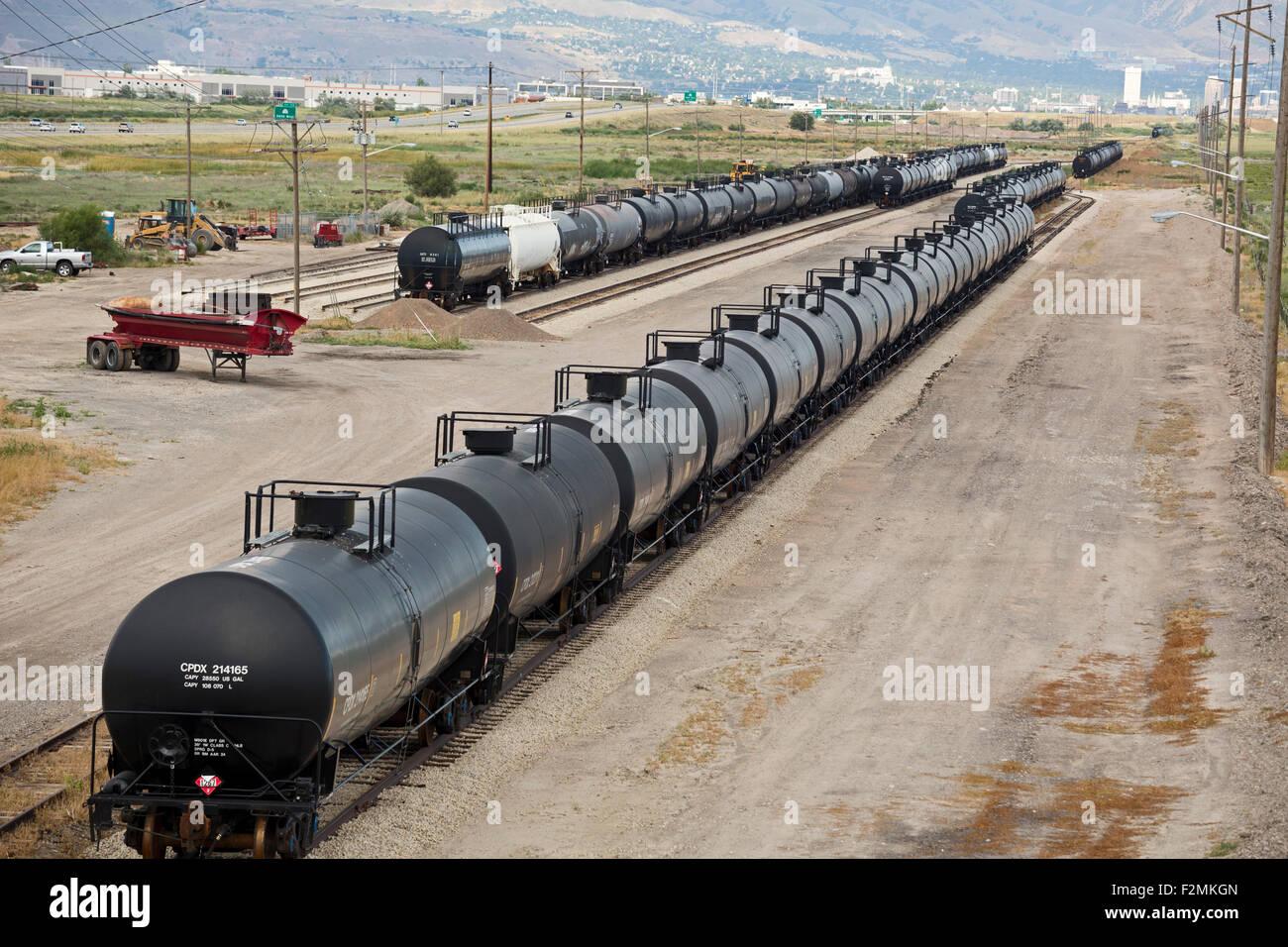 Salt Lake City, Utah - Rail cars carrying crude oil. - Stock Image