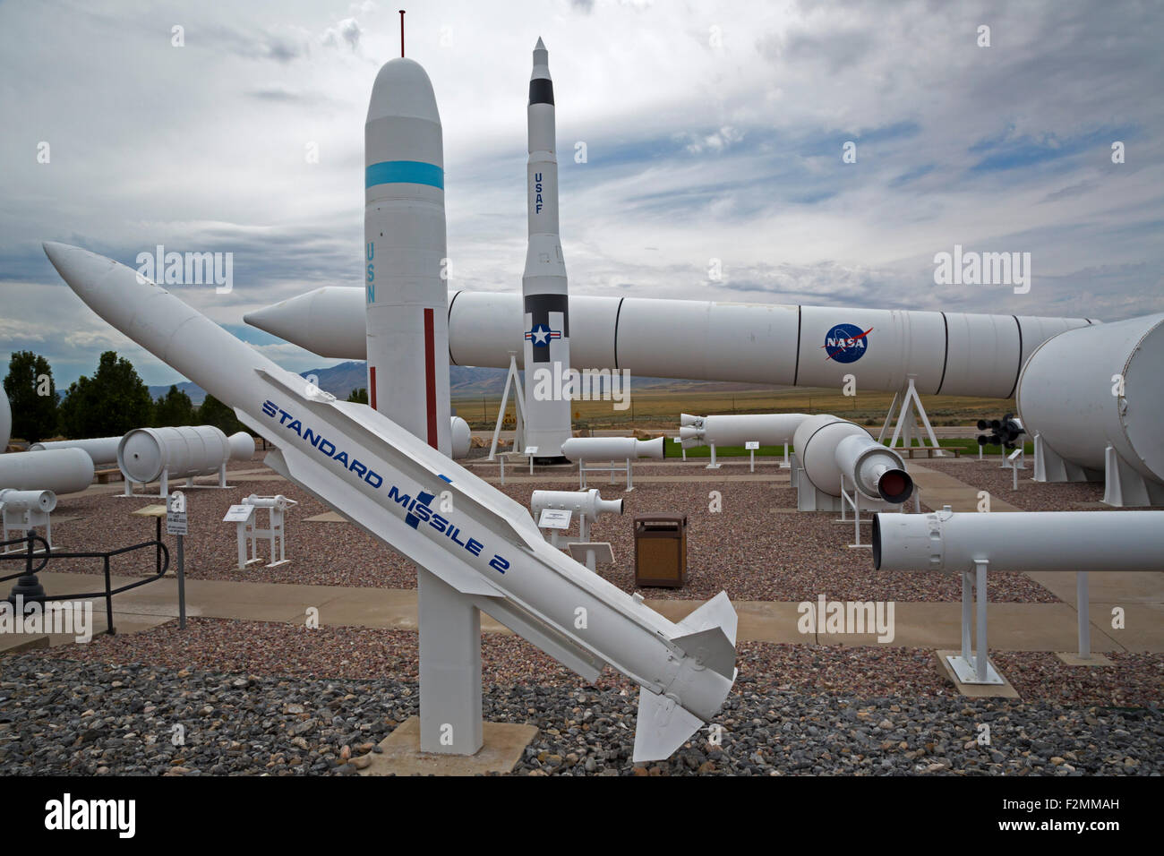 Promontory, Utah - Rockets displayed at Orbital ATK's test facility. - Stock Image