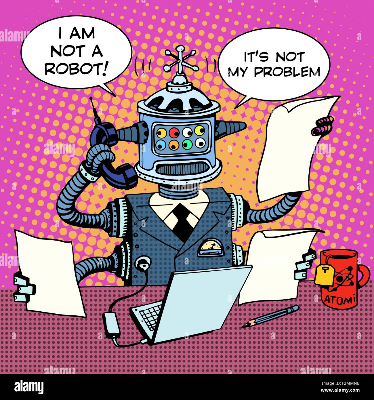 Robot Secretary on the phone business concept - Stock Vector
