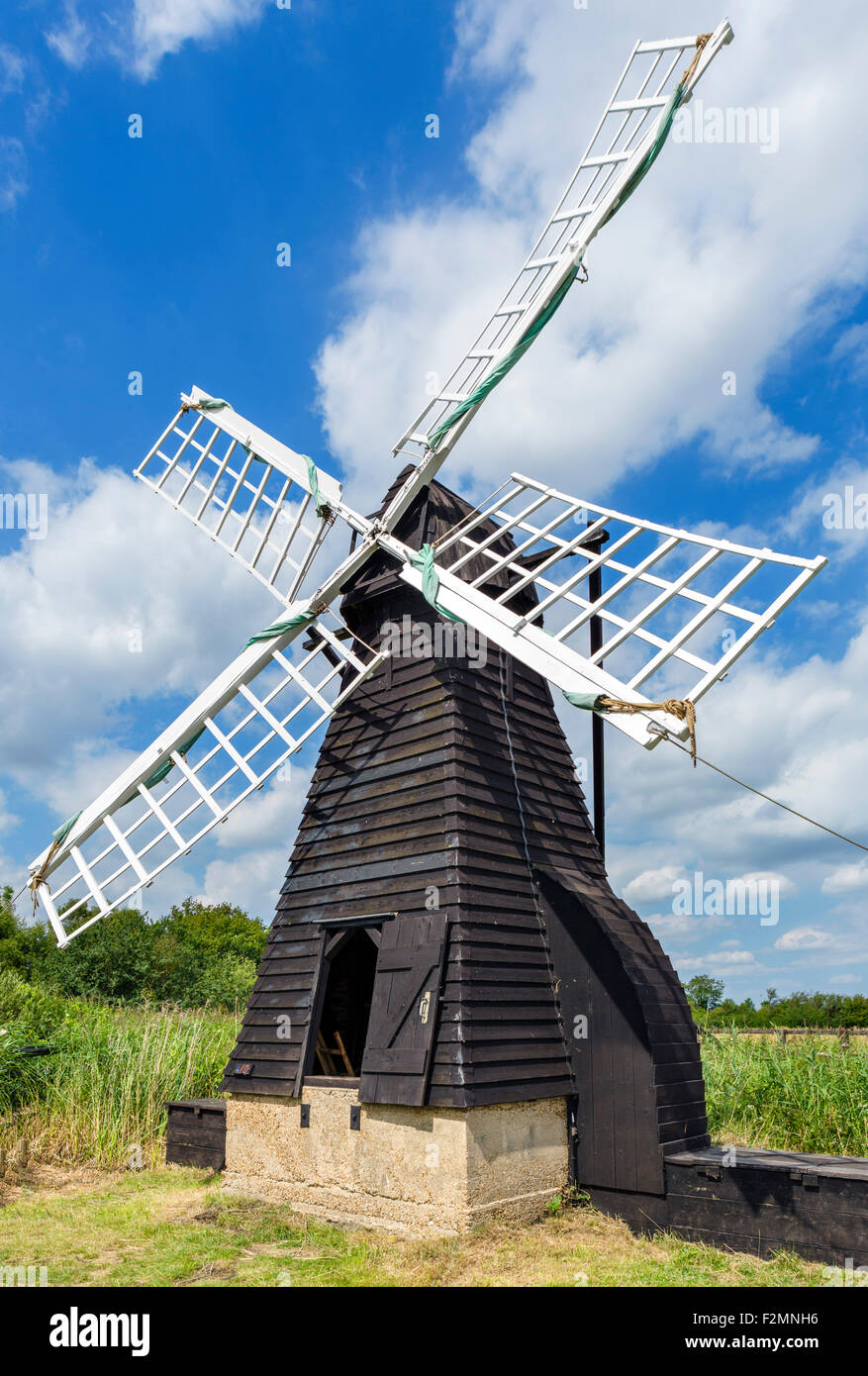 Windmill at Wicken Fen, a wetland nature reserve near Wicken, Cambridgeshire, England, UK Stock Photo