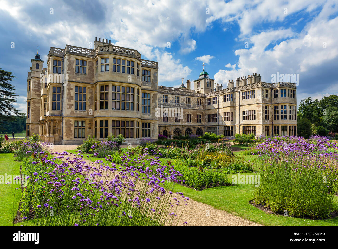 The gardens at the rear of Audley End House, a 17thC country house near Saffron Waldon, Essex, England, UK - Stock Image