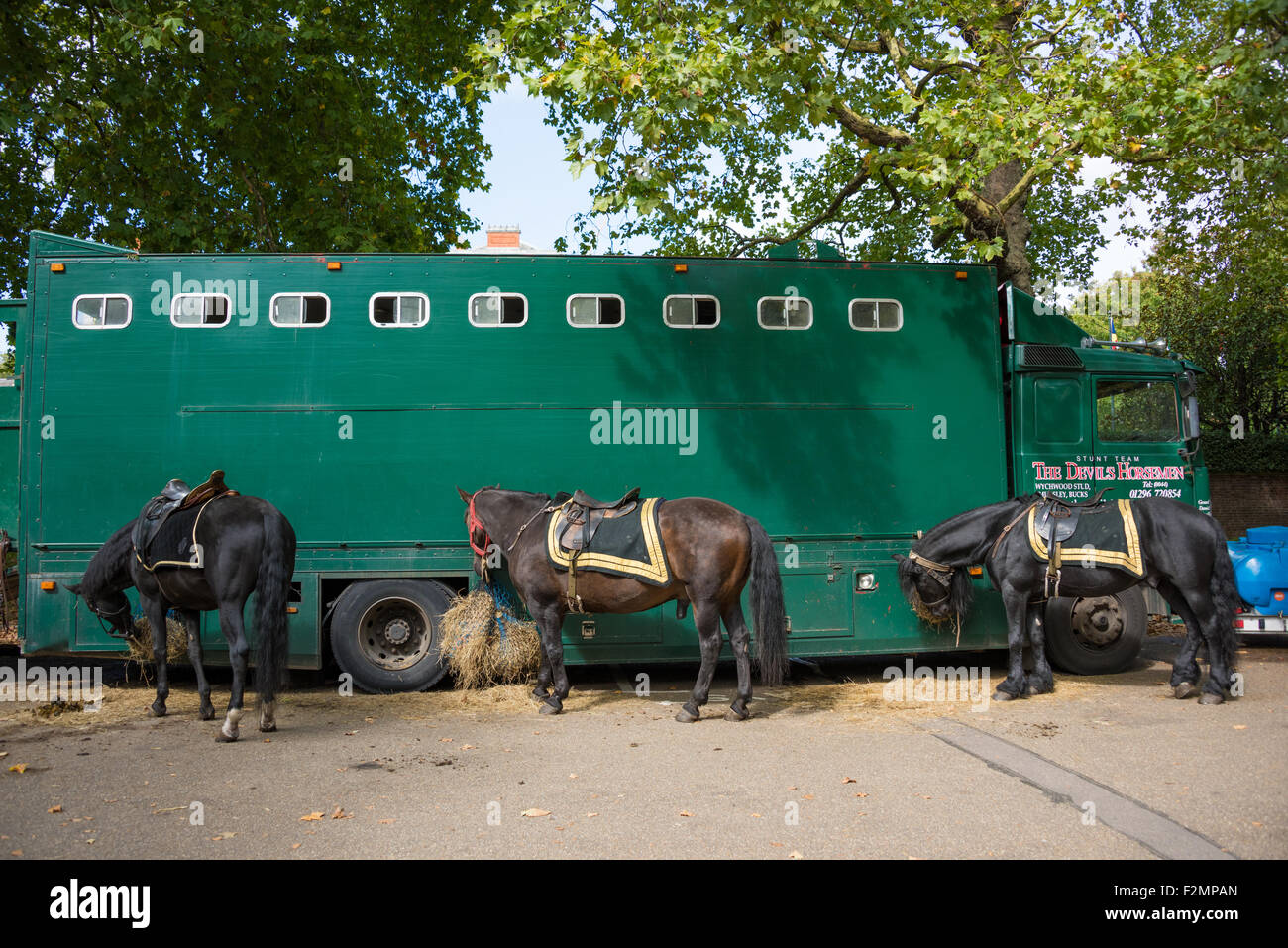 The Devils Horsemen Stunt team horses in The City of London UK - Stock Image