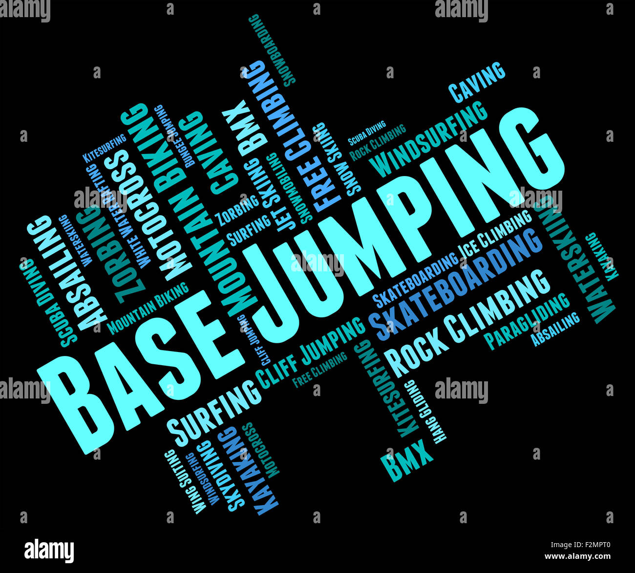 Base Jumping Representing Parachuting Skydiving And Basejumper - Stock Image