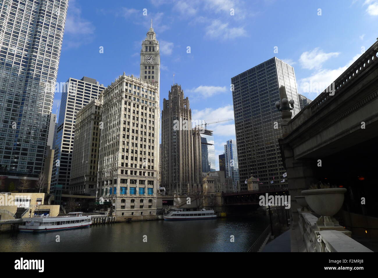 Chicago River, The Wrigley Building, Tribune Tower and Equitable Building - Stock Image