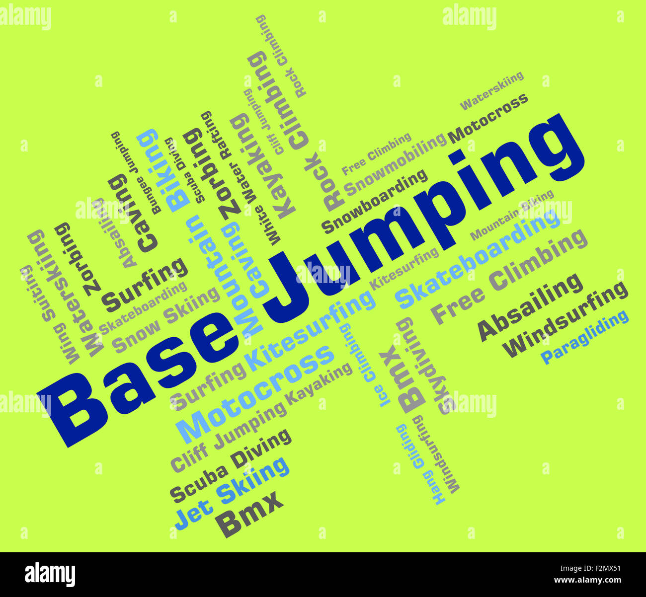 Base Jumping Showing Text Base-Jump And Parachuting - Stock Image