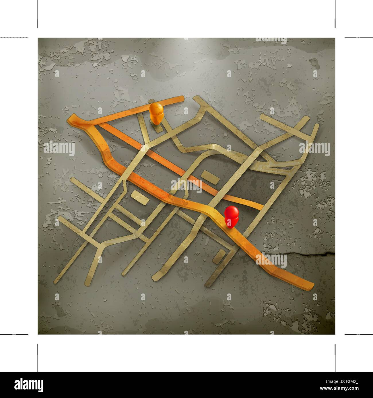 City map, old style vector - Stock Vector