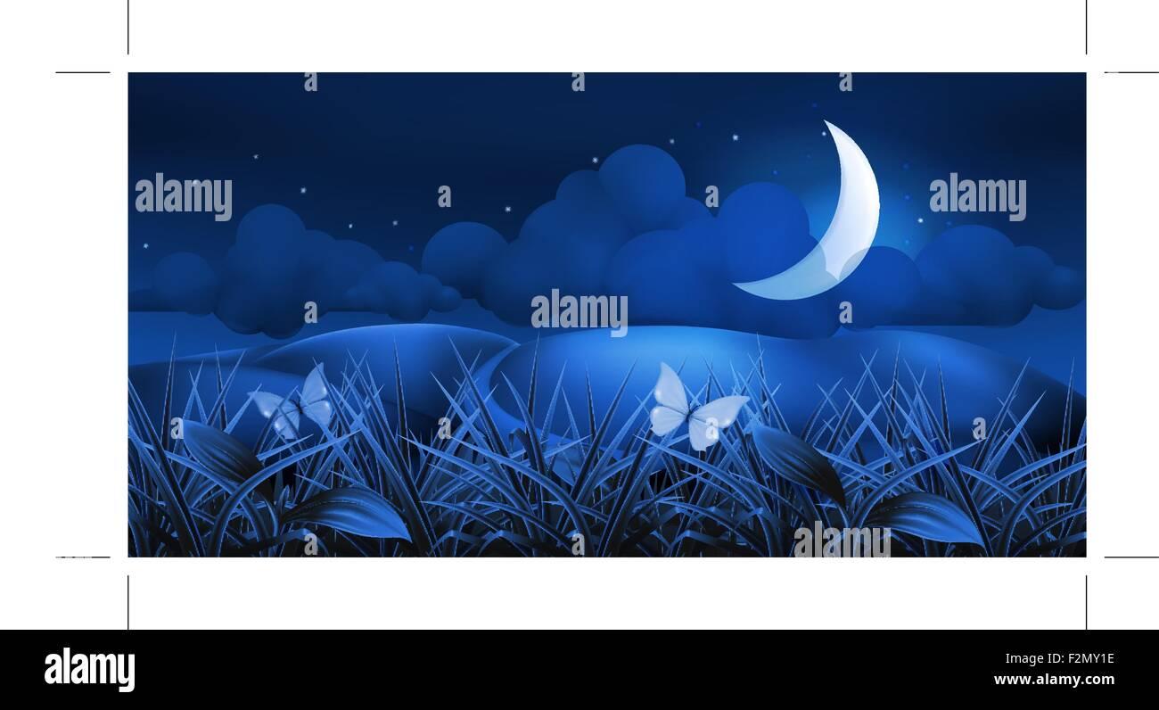 Night landscape, 10eps - Stock Image