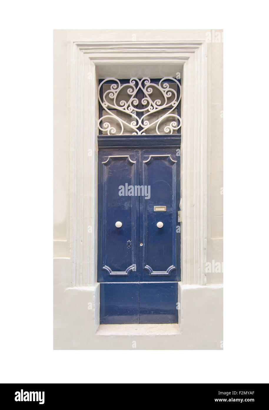 Blue Painted Door With White Wrought Iron Pattern And White Knobs
