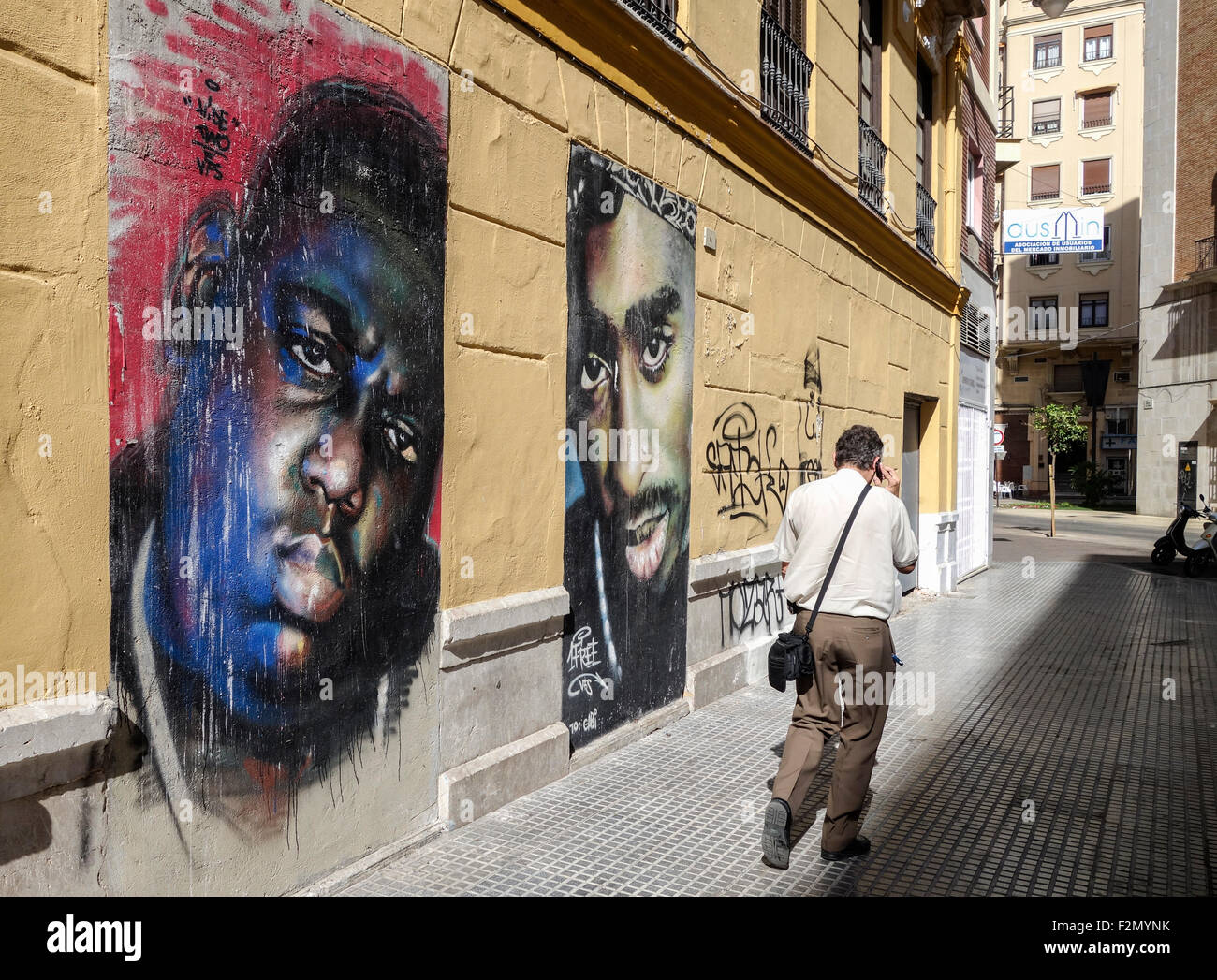 Exterior Wall Mural Mural Painting By 1free Of B I G And Tupac In Malaga Soho