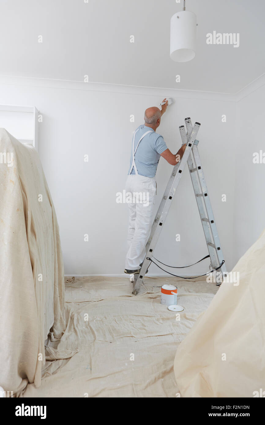 Man On Ladder Decorating Domestic Room With Paint Brush - Stock Image