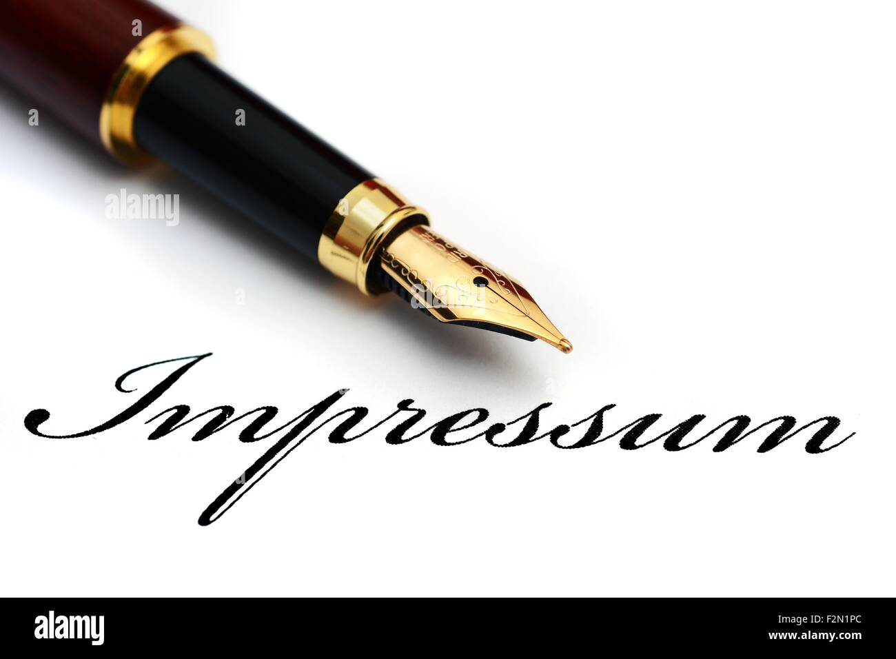 Impressum - t's the term Given to a Legally mandated statement of the ownership and authorship of a document - Stock Image