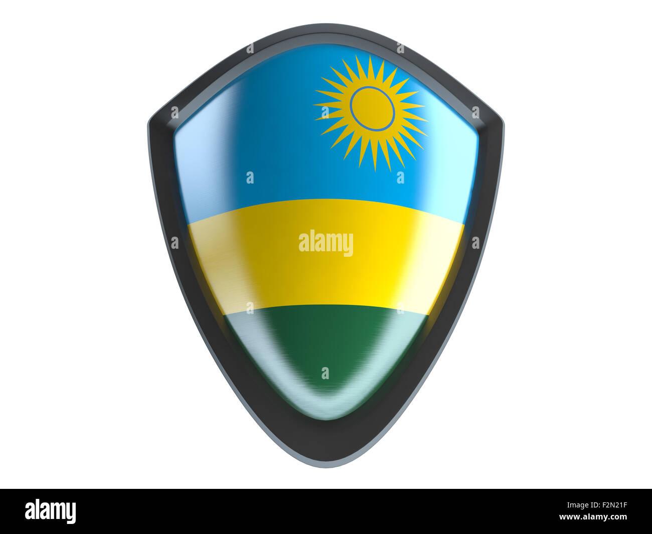 Rwanda flag on metal shield isolate on white background. - Stock Image