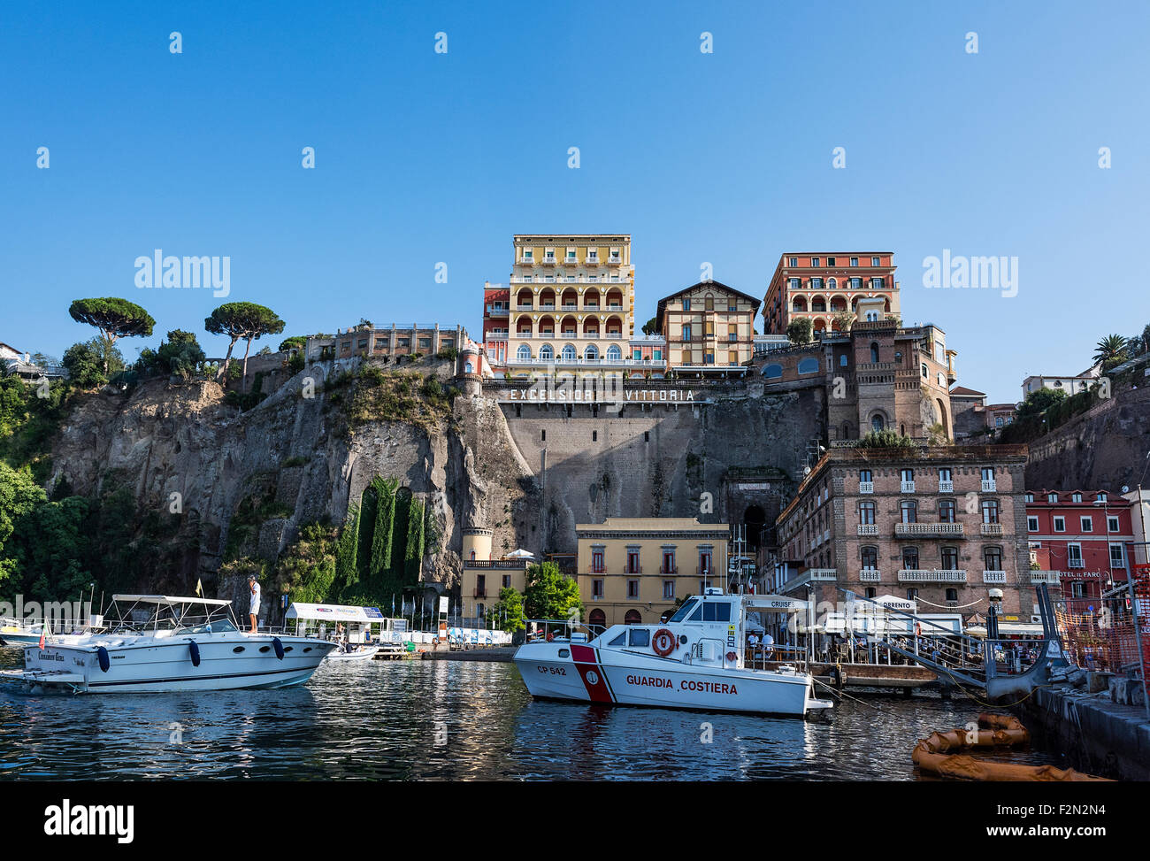 Town of Sorrento as seen from the water, Naples, Italy - Stock Image