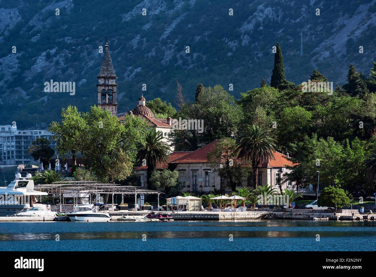 Waterfront church, Bay of Kotor, Montenegro Stock Photo