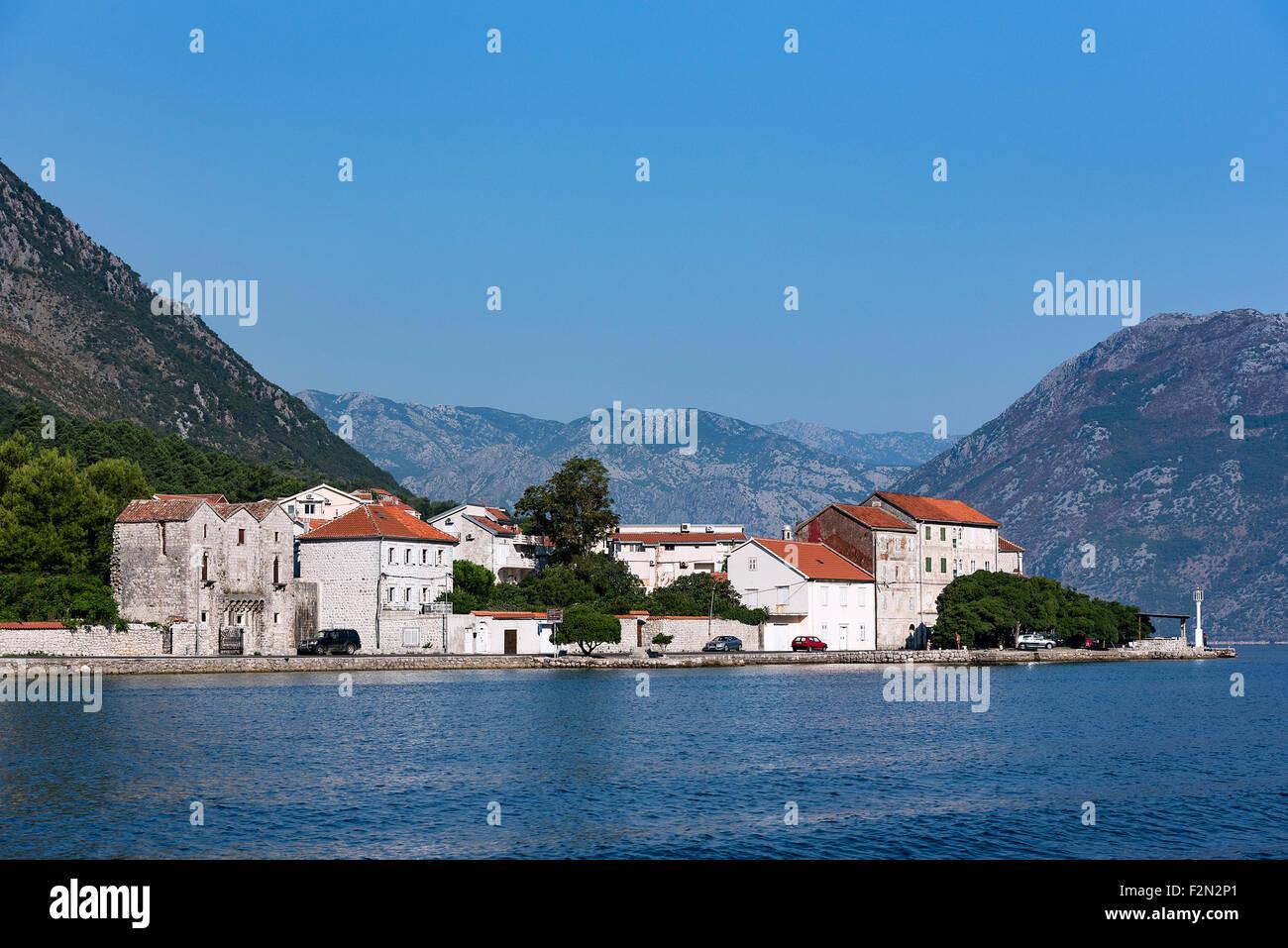 Charming coastal village along the Bay of Kotor, Montenegro Stock Photo
