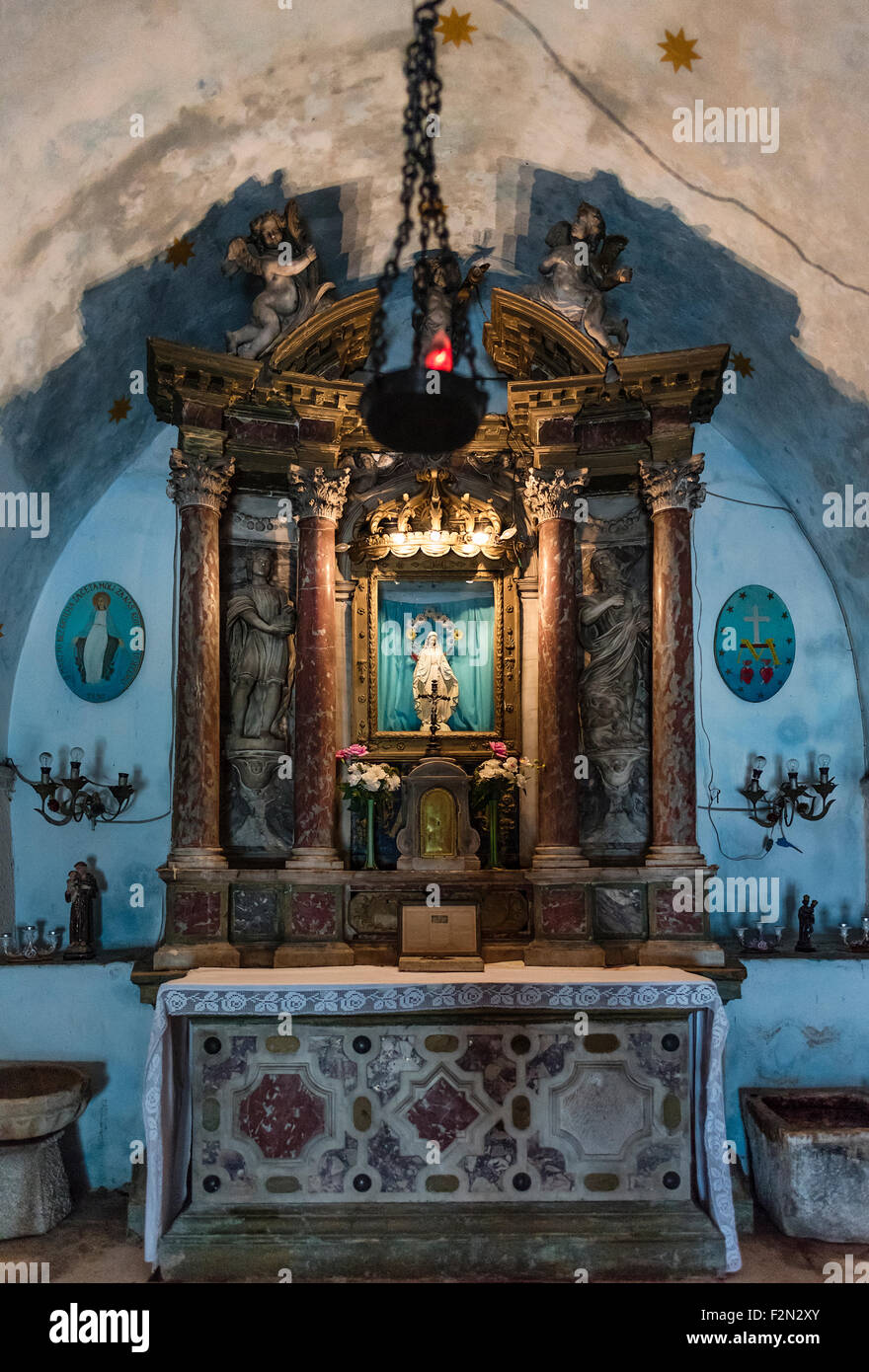 Interior alter, Our Lady of Remedy, Kotor, Montenegro - Stock Image