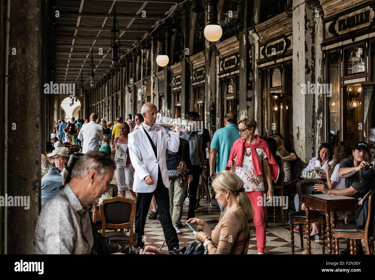 Florian Cafe, St. Marks Square, San Marco, Venice, Italy, Europe - Stock Image