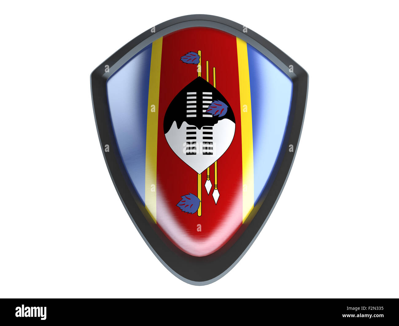Swaziland flag on metal shield isolate on white background. Stock Photo