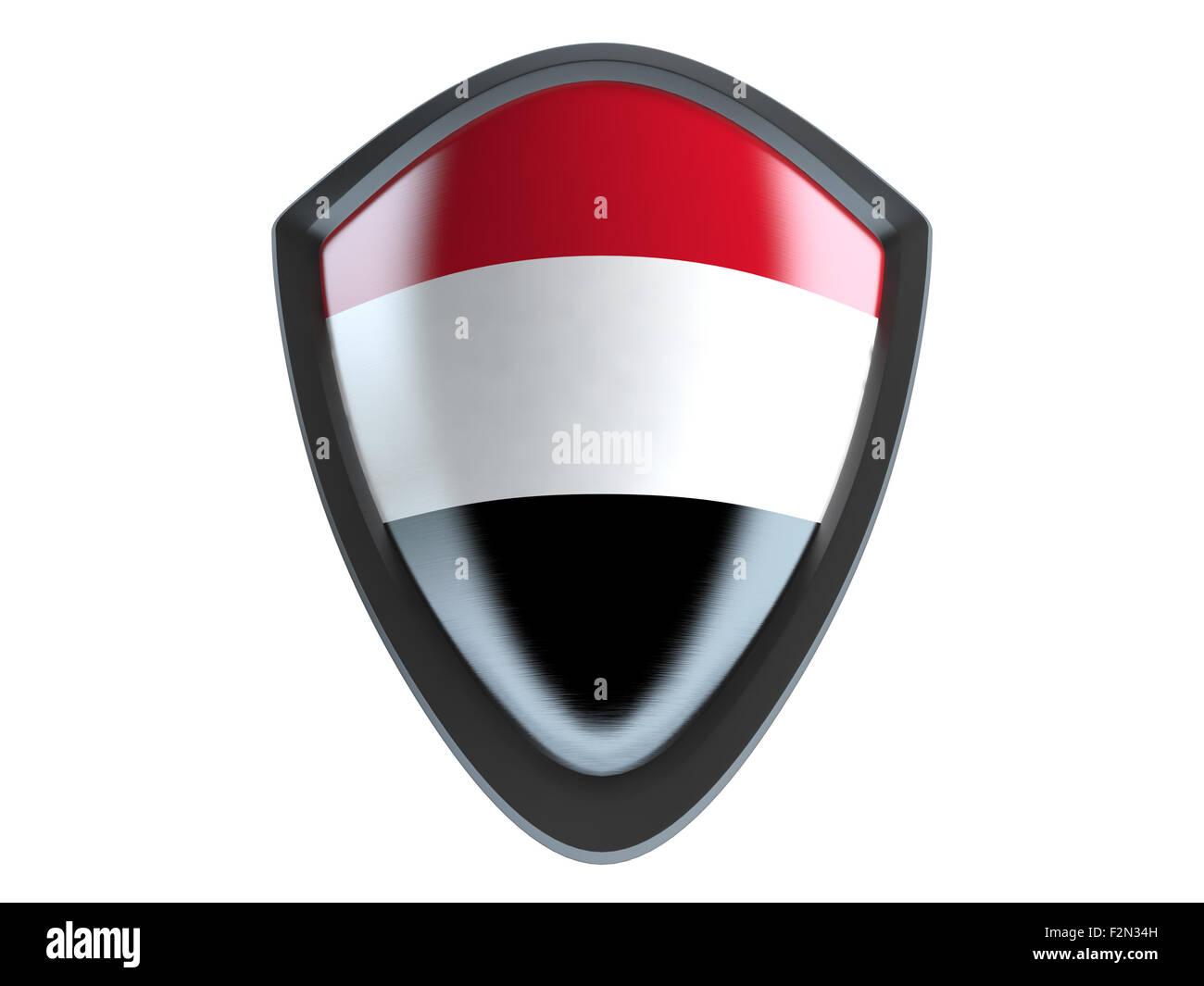 Yemen flag on metal shield isolate on white background. - Stock Image