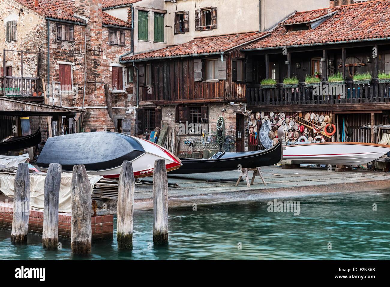 The squero di San Trovaso gondola boatyard, Venice, Italy - Stock Image
