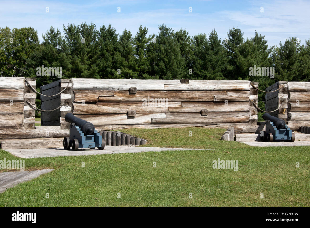 Two cannon in the northeast bastion at Fort Stanwix National Monument Rome New York USA US America. - Stock Image