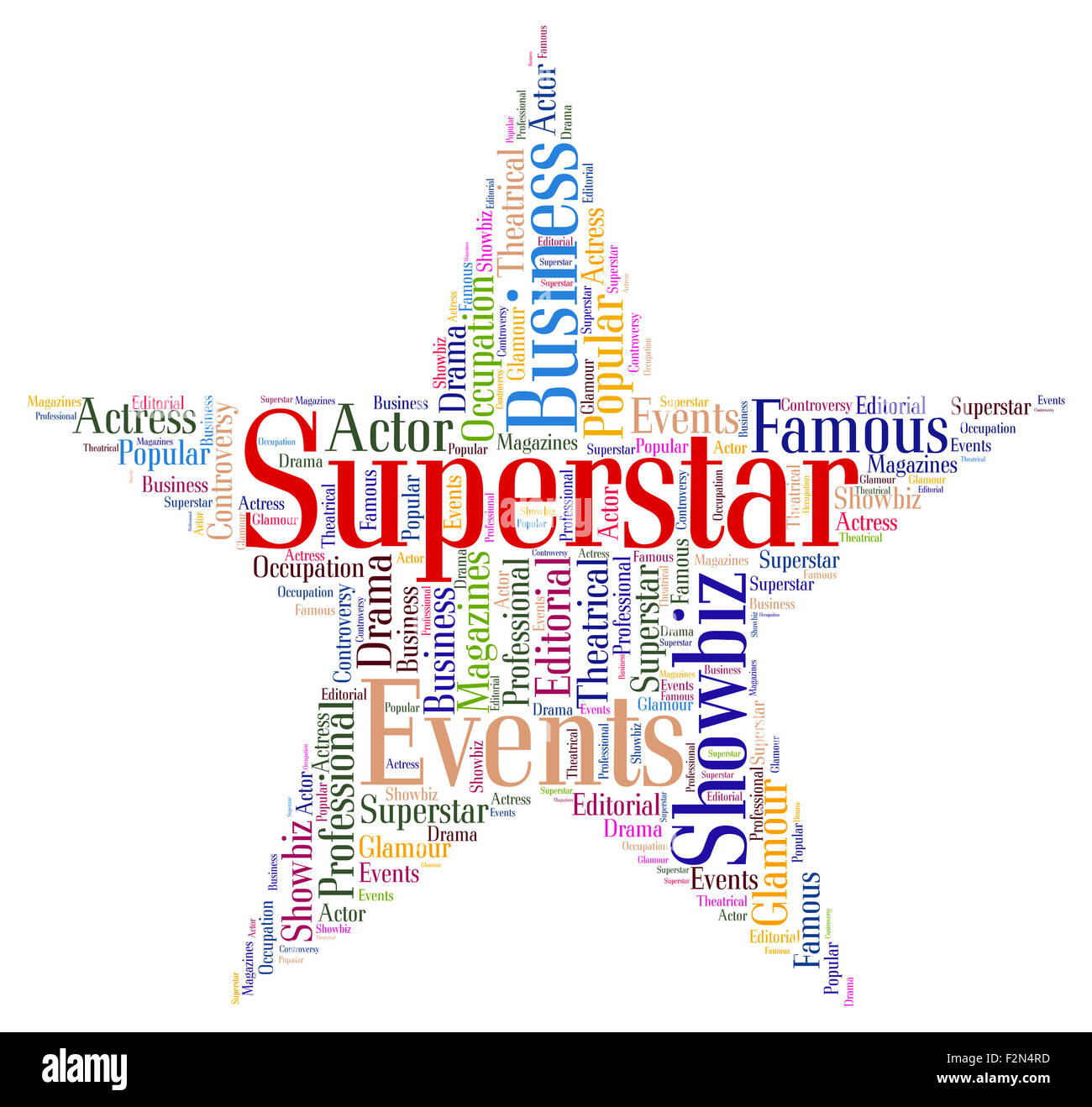 superstar word representing personality luminaries and words stock
