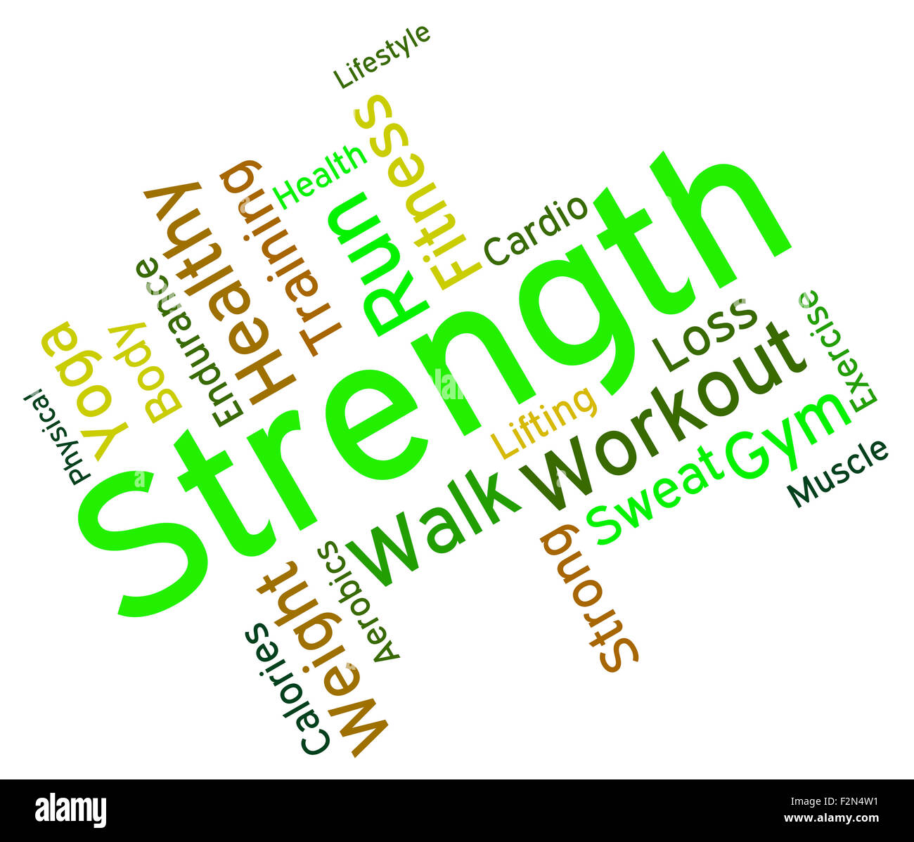 Strength Words Meaning Robust Might And Forceful - Stock Image