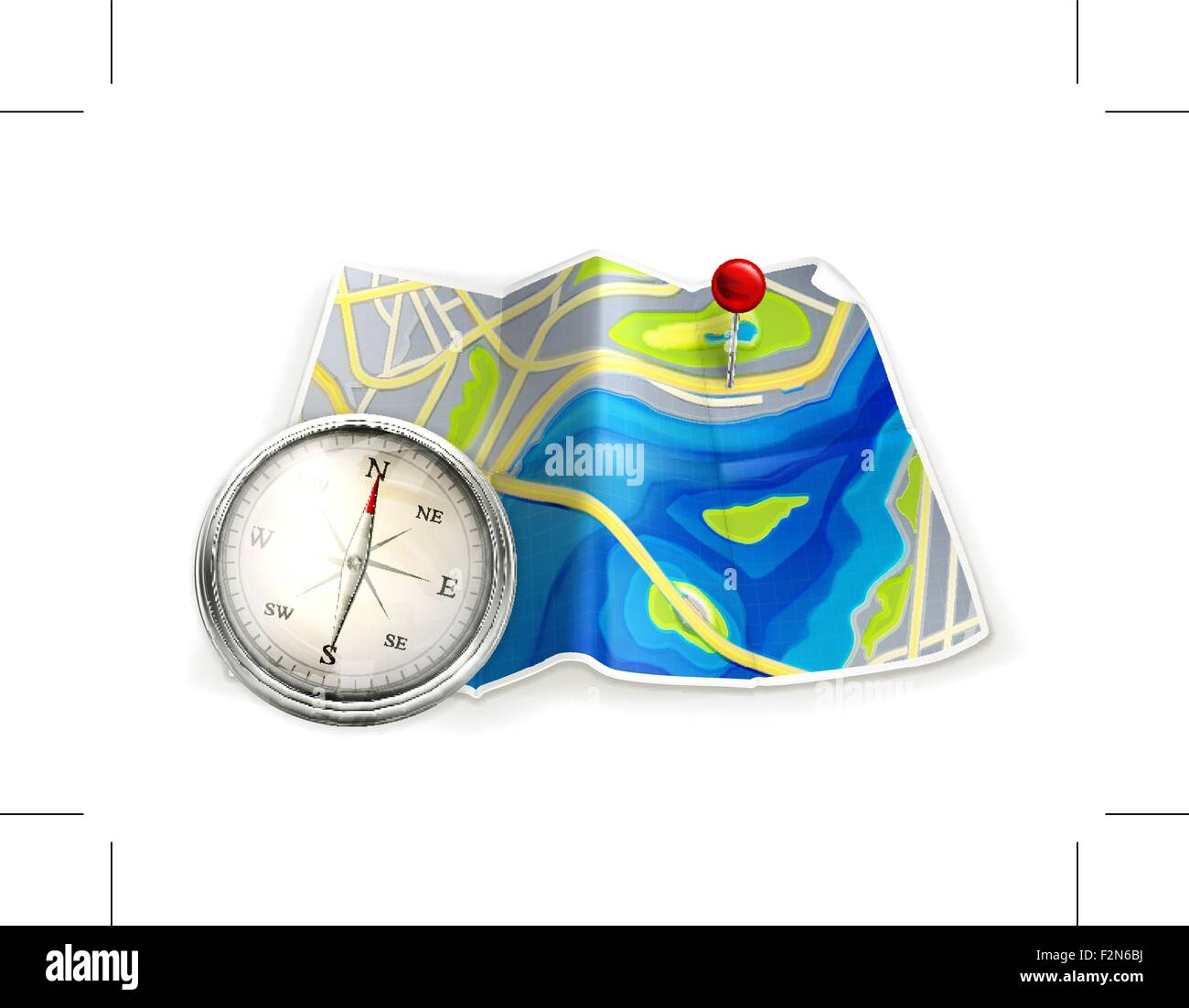 Map and compass - Stock Vector