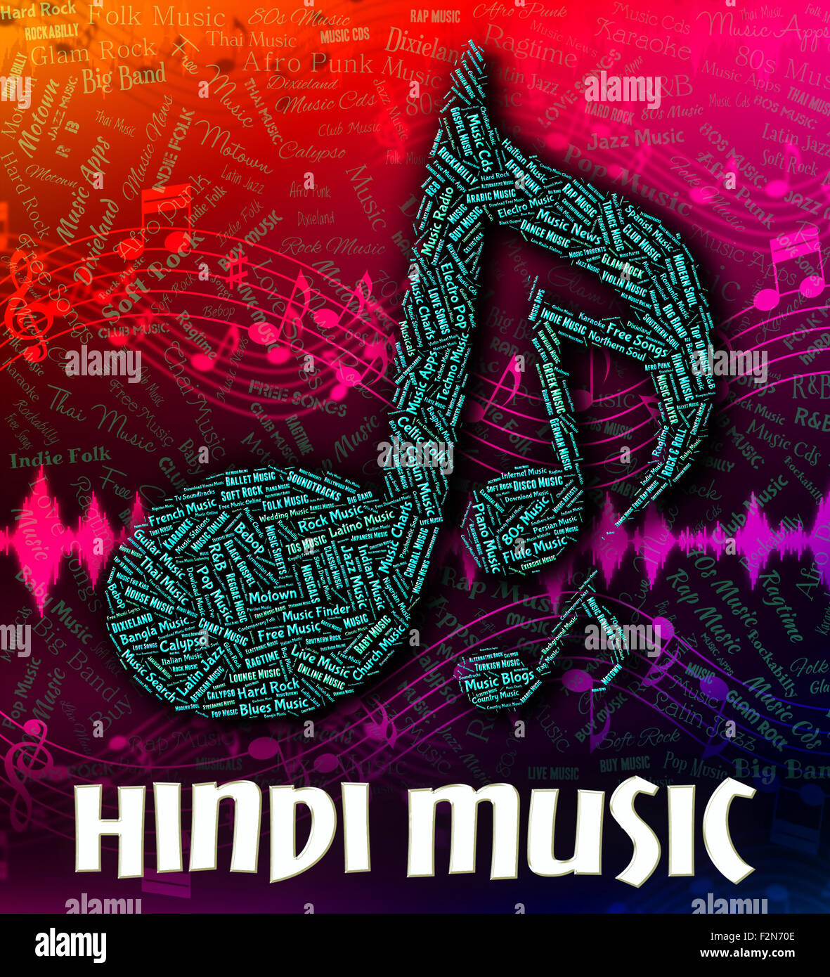 Hindi Music Indicating Sound Track And Indian Stock Photo: 87747646