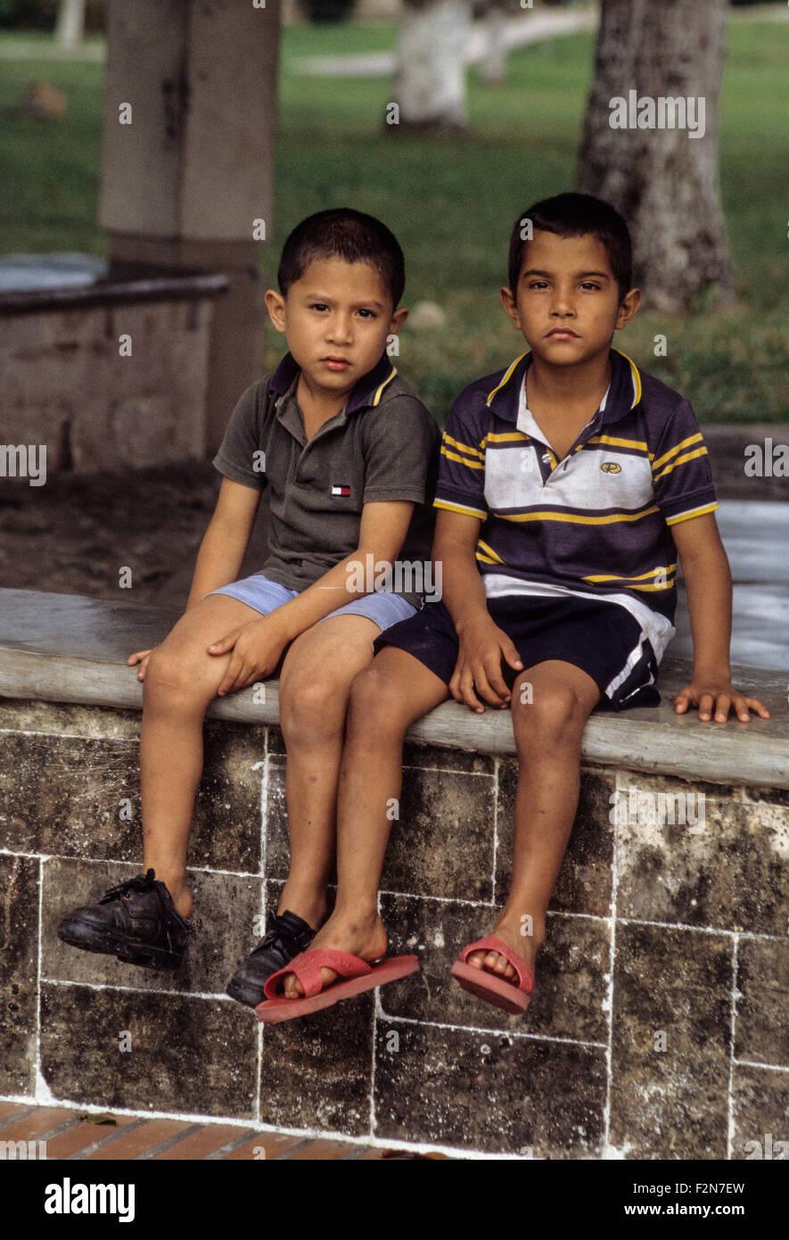 Honduras.  Two Young Boys at an Orphanage near La Ceiba. - Stock Image
