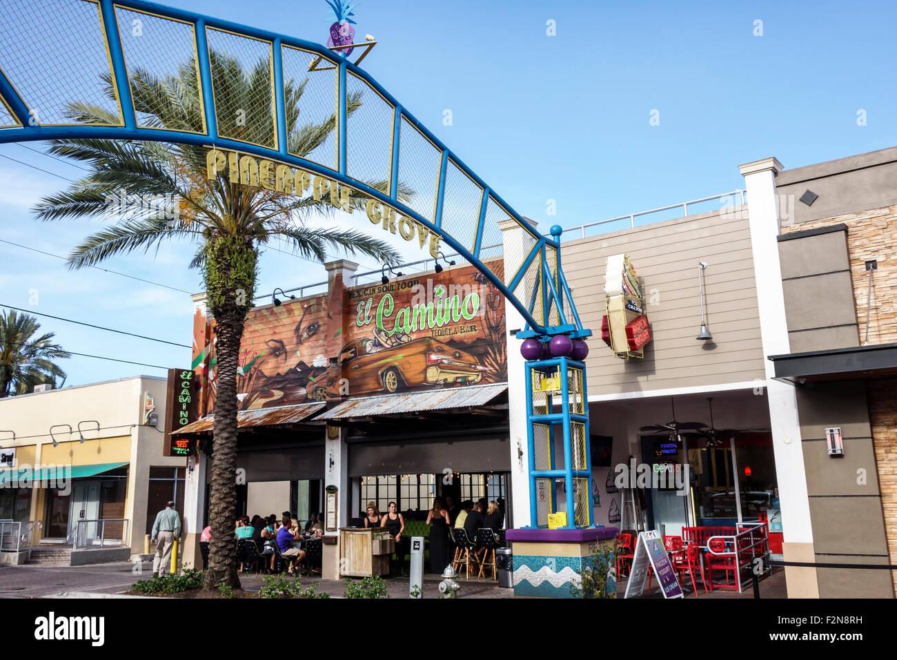 Florida FL South Delray Beach Pineapple Grove Arts District 2nd Avenue El Camino restaurant bar front entrance Stock Photo
