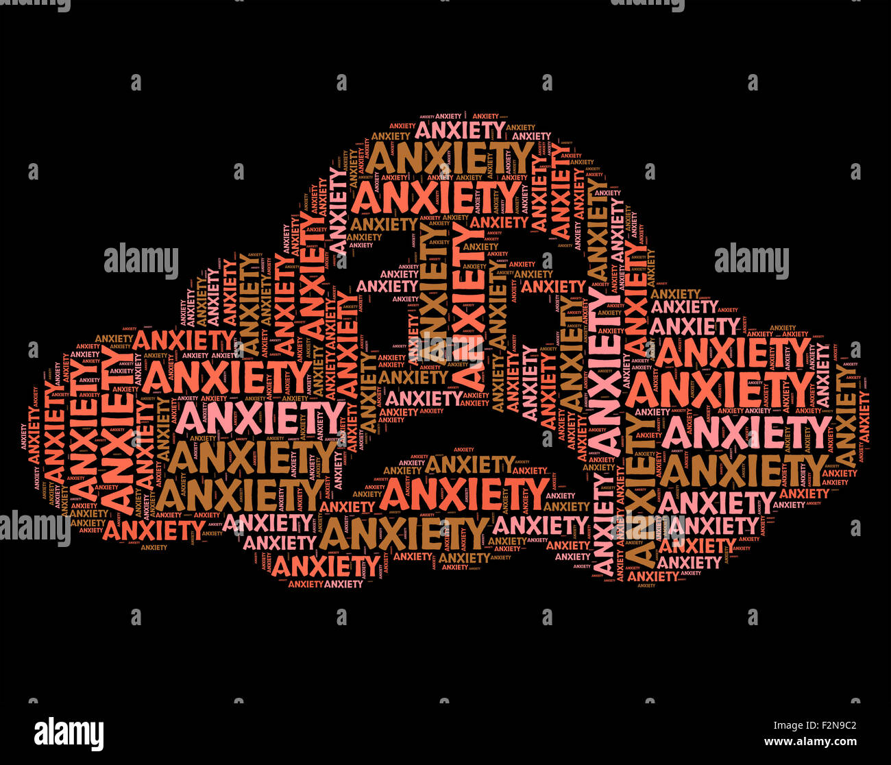 Anxiety Word Representing Tension Uneasiness And Angst Stock Photo