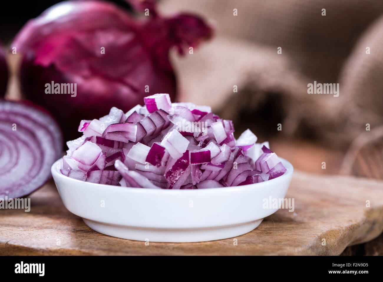 Portion of diced Red Onion (detailed close-up shot Stock ...