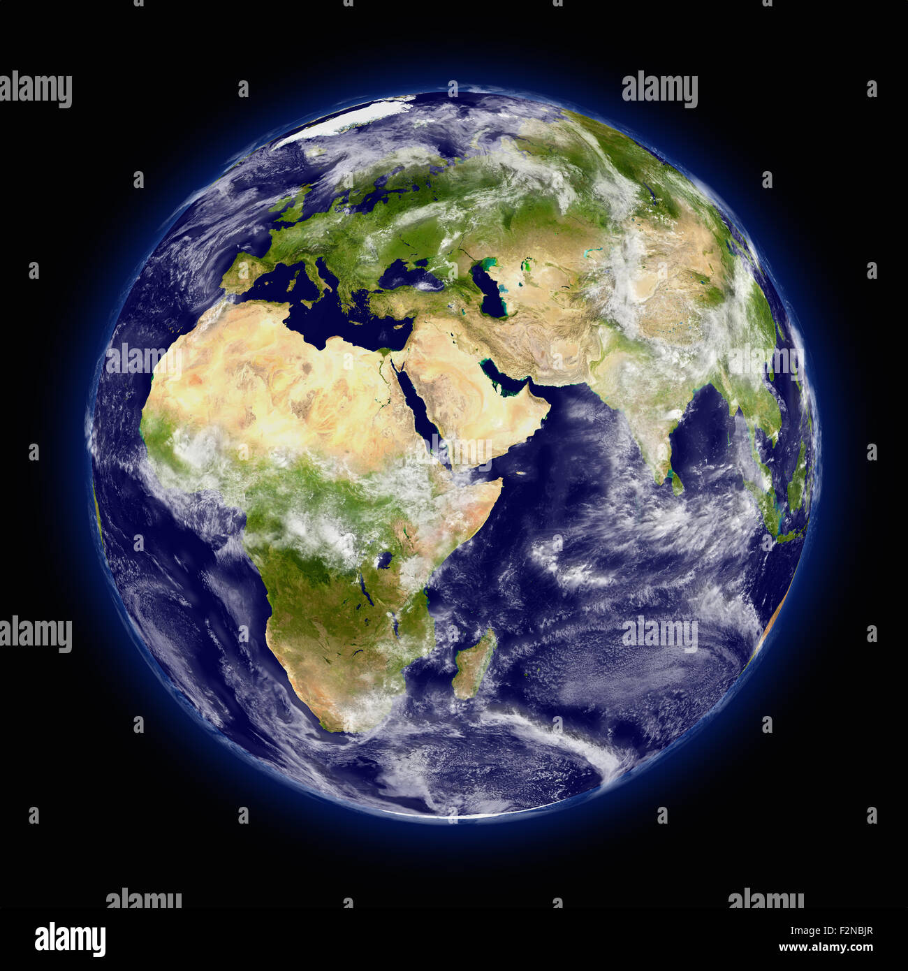 Realistic illustration of planet Earth as seen from space facing Africa, Europe and middle east region - Stock Image