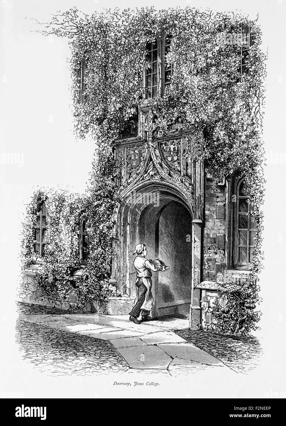 Doorway, Jesus College, _Illustration from 'The British isles - Cassell Petter & Galpin Part 6 Picturesque - Stock Image
