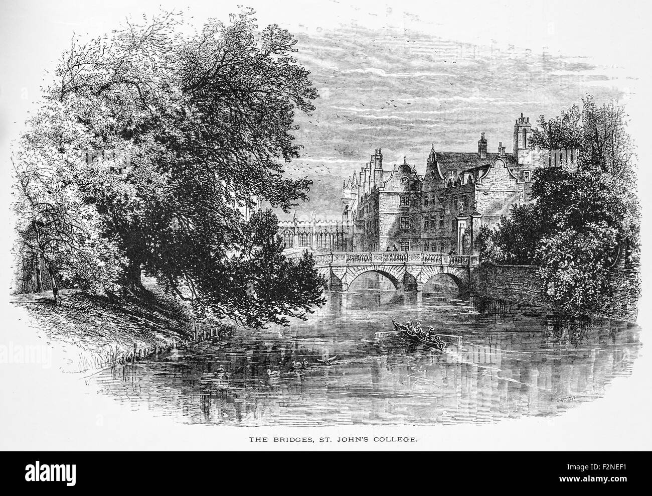 The Bridge, St John's College, Cambridge_Illustration from 'The British isles - Cassell Petter & Galpin - Stock Image