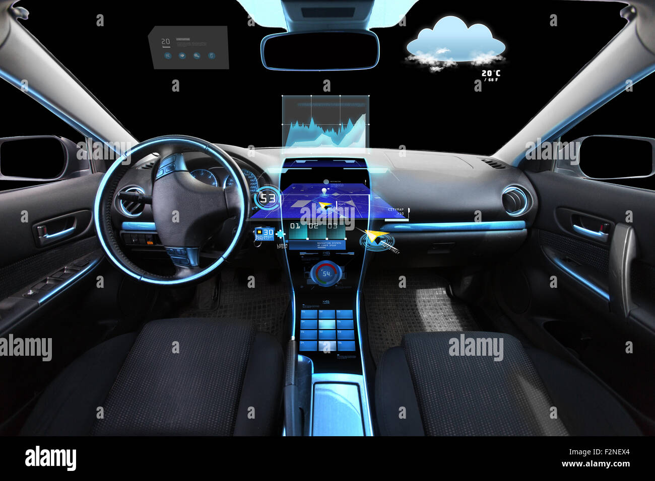 car salon with navigation system and meteo sensors - Stock Image