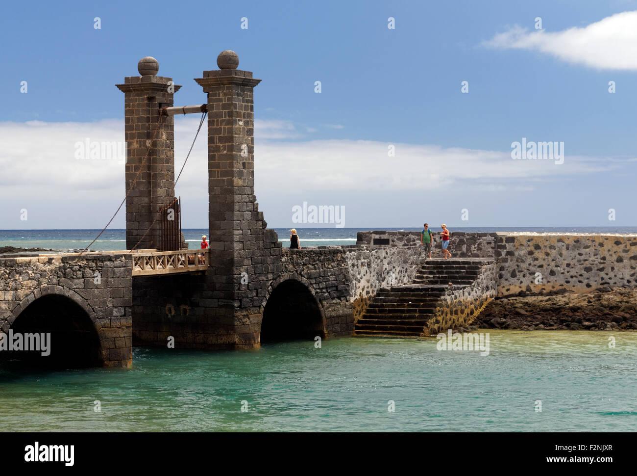 Puente de las Bolas bridge of the  balls, San Gabriel Castle, Arrecife, Lanzarote, Canary Islands, Spain. Stock Photo