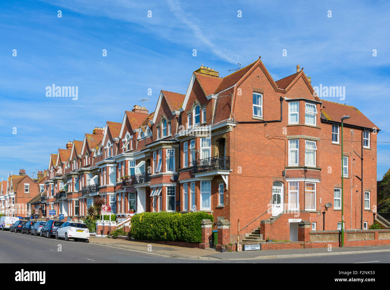 Victorian style housing and hotels in South Terrace, Littlehampton, West Sussex, England, UK. - Stock Image