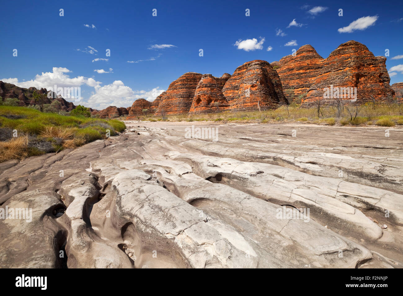 Dry riverbed of the Piccaninny Creek in Purnululu National Park, Western Australia on a sunny day. - Stock Image