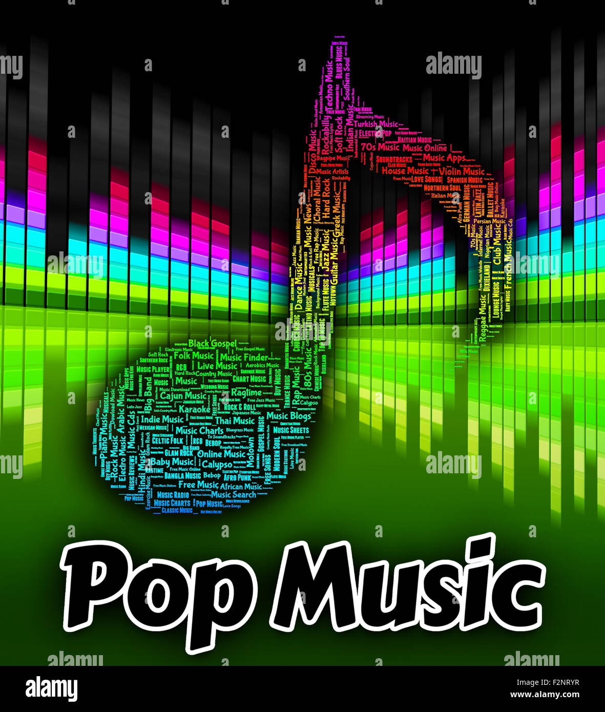 Pop Music Representing Sound Tracks And Songs Stock Photo