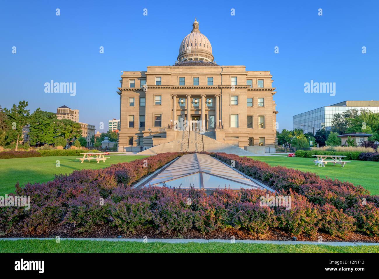 Morning and park at the Idaho capital building Stock Photo