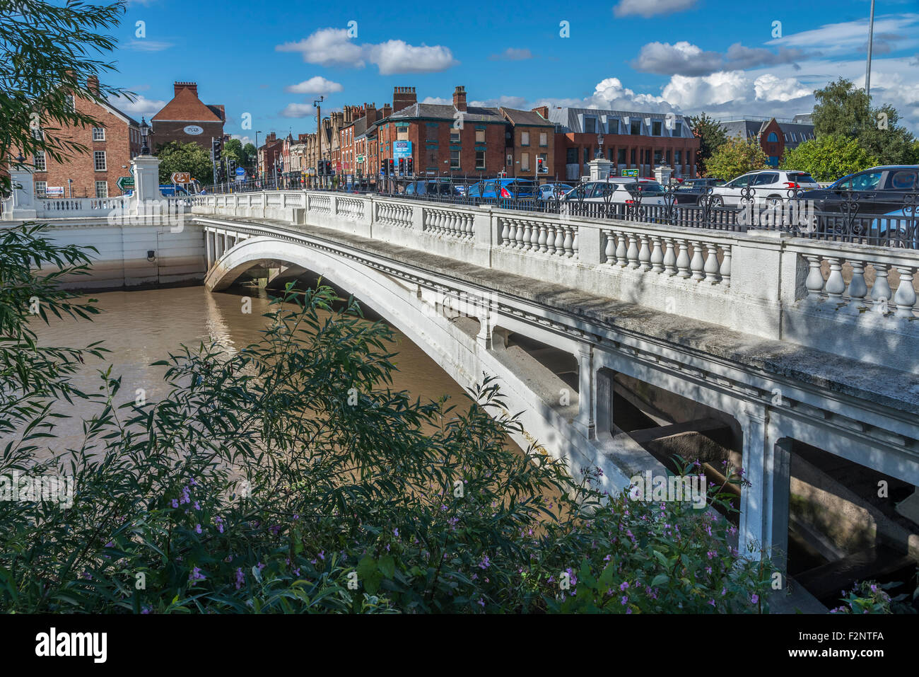 The bridge over the river Mersey at Bridge foot in Warrington. Cheshire North West England. - Stock Image