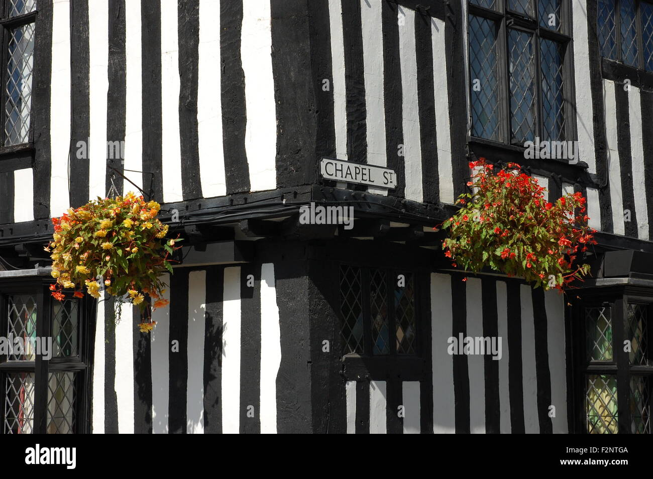 Tudor half-timber walls of the Falcon Hotel in Stratford-upon-Avon, England - Stock Image